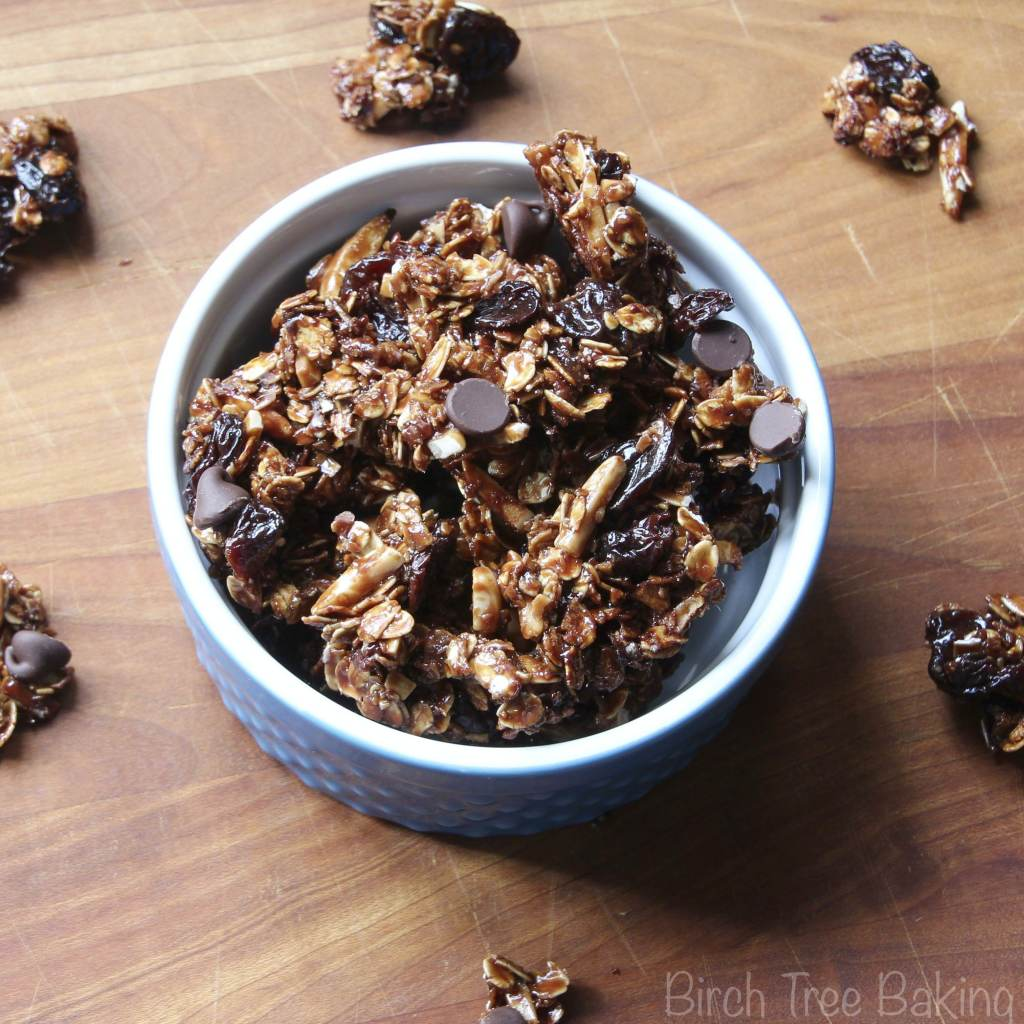 Crunchy Nutella coated granola with dried cherries, almonds, and ...